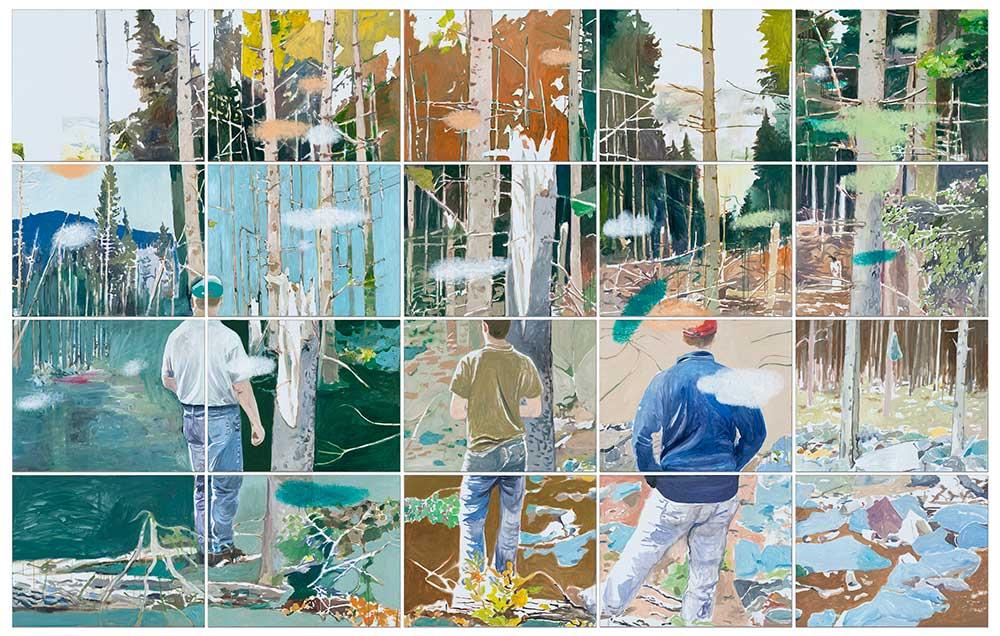 4 Seasons (Forest), Öl auf Leinwand, 300 x 475 cm