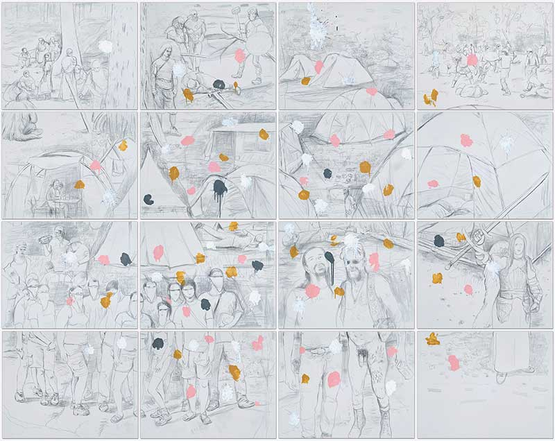 4 Seasons (Paintball), Bleistift und Öl auf Leinwand, 300 x 380 cm