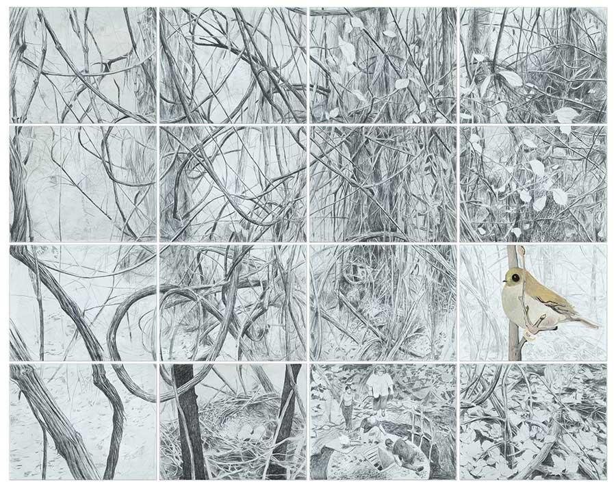 4 Seasons (Winter), Bleistift und Öl auf Leinwand, 300 x 380 cm