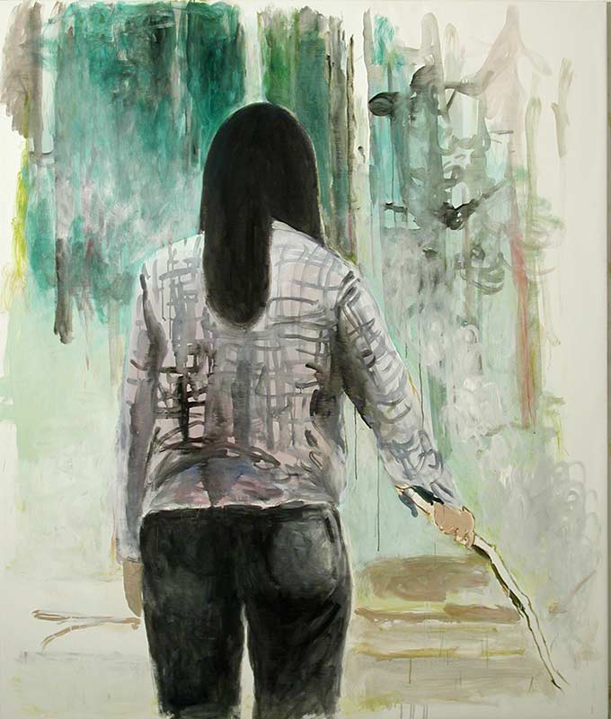Akemi cooking, Öl auf Leinwand, 190 x 160 cm