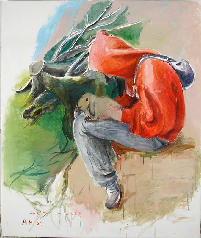 Akemi mit Hase / Akemi with rabbit, Öl auf Leinwand, 190 x 160 cm