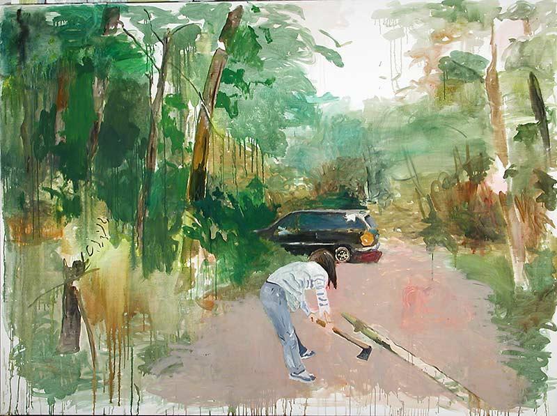Akemi working, Öl auf Leinwand, 200 x 270 cm