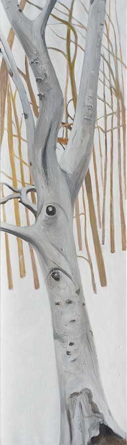 Baum 3 / Tree 3, Öl auf Leinwand, 210 x 60 cm