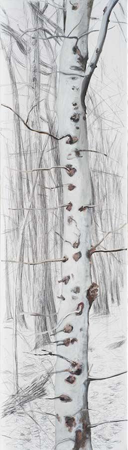 Baum 4 / Tree 4, Öl auf Leinwand, 210 x 60 cm