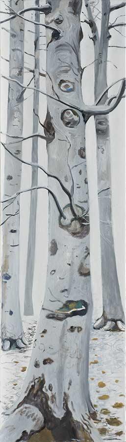 Baum 6 / Tree 6, Öl auf Leinwand, 210 x 60 cm