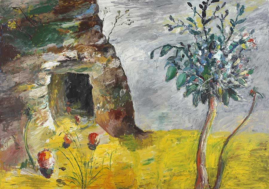 Landschaft mit Höhle / Landscape with Cave, Öl auf Leinwand, 200 x 280 cm