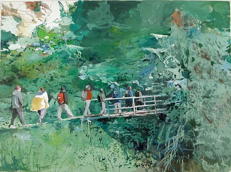 In den Wald / Into the forest, Öl auf Leinwand, 200 x 270 cm