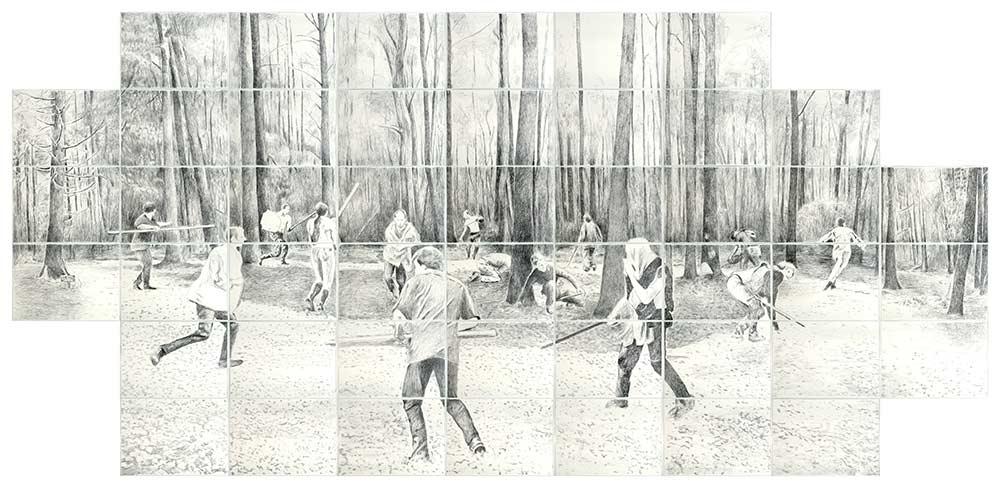 LARP, Bleistift auf Papier, 300 x 630 cm
