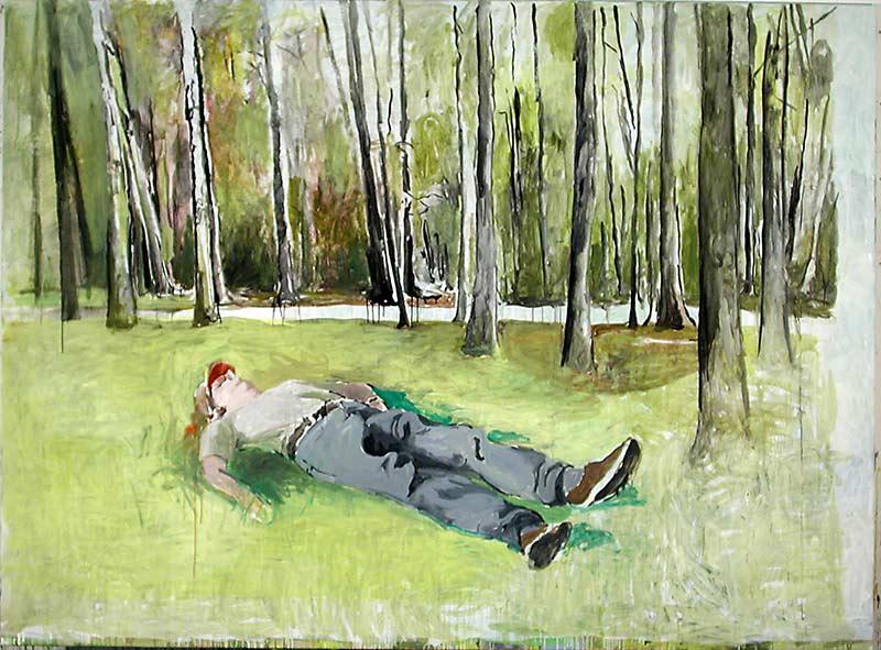 Leo liegt / Leo lying, Öl auf Leinwand, 200 x 270 cm