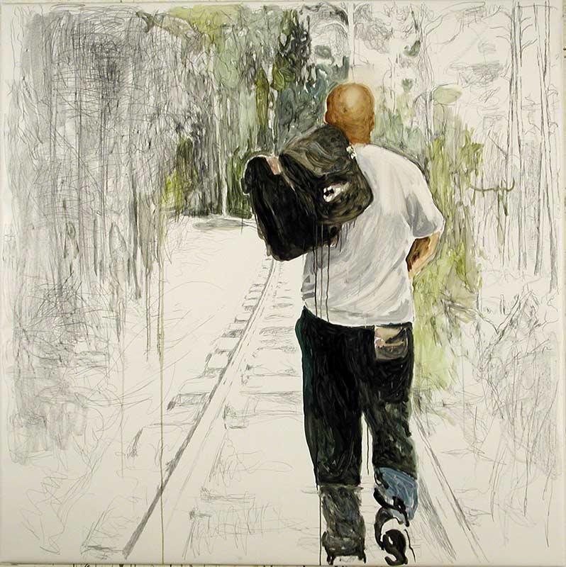 Railway, Öl auf Leinwand, 130 x 130 cm
