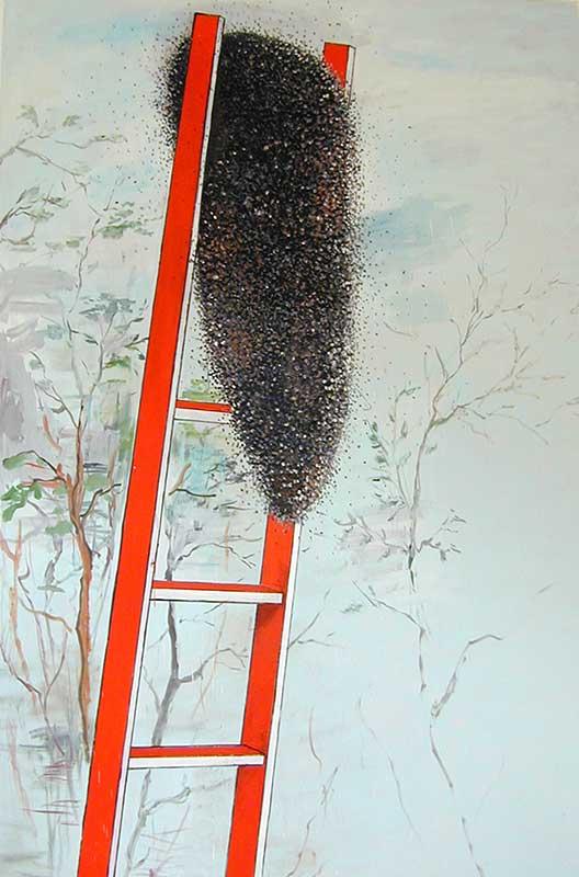 Rote Leiter / Red Ladder, Öl auf Leinwand, 300 x 200 cm