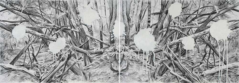 Überwindung der Angst / Overcoming Fear, Öl u.Kohle/LW, 140x400 cm
