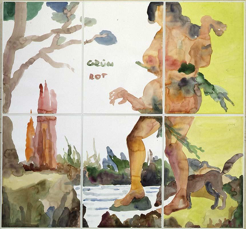 Menschenfresserin / Cannibal, Aquarell auf Papier,140 x 150 cm