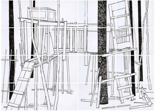 Geisterhaus 2, Acryl auf Papier, 200 x 280 cm