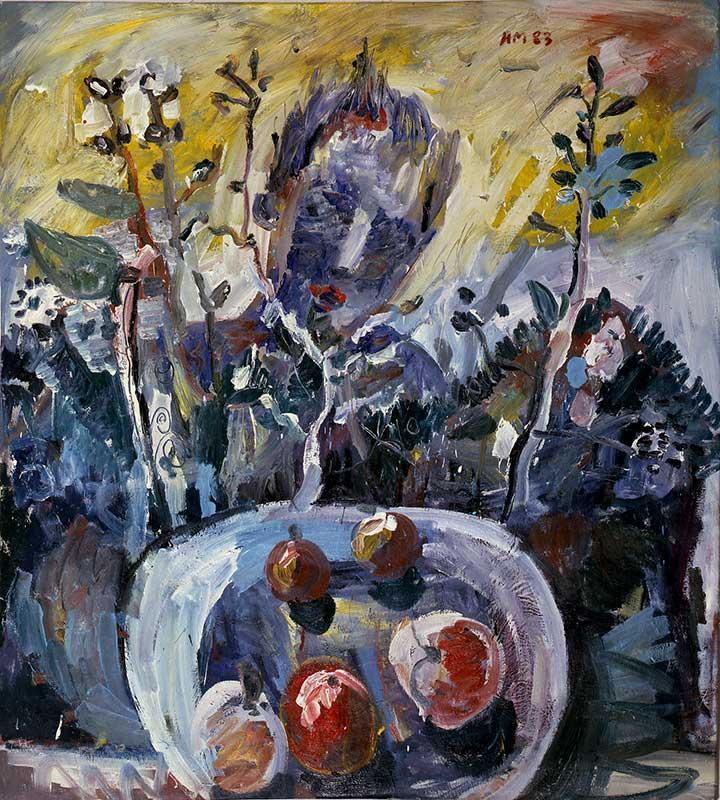 Kopf und Früchte / Head and Fruits, Öl auf Leinwand, 190 x170 cm