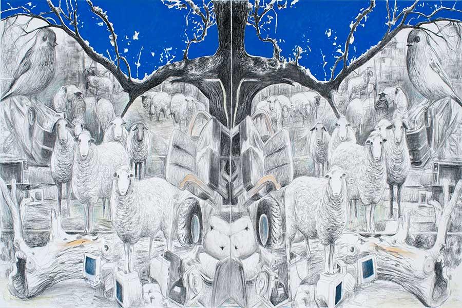 Eden, Öl und Bleistift auf Leinwand, 160 x 240 cm