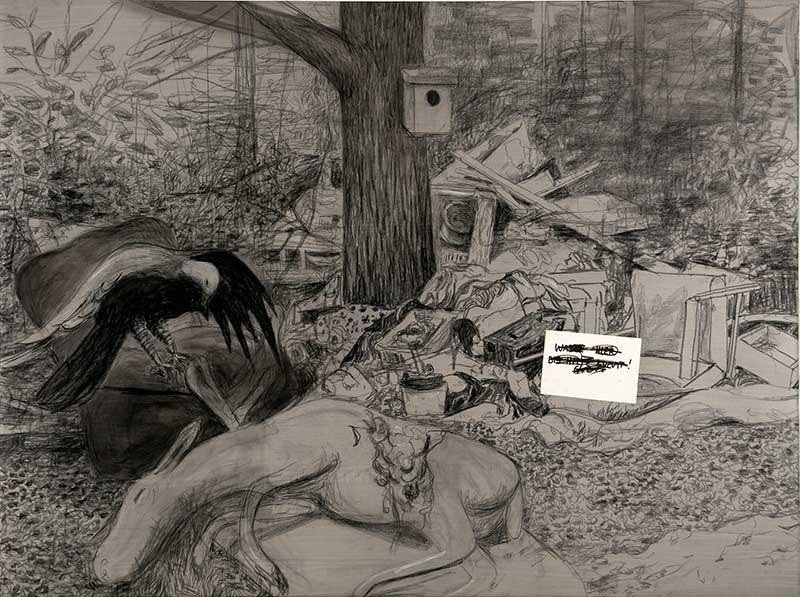 Geier und Esel / Vulture and Donkey, Kohle und Öl auf Leinwand, 150 x 200 cm