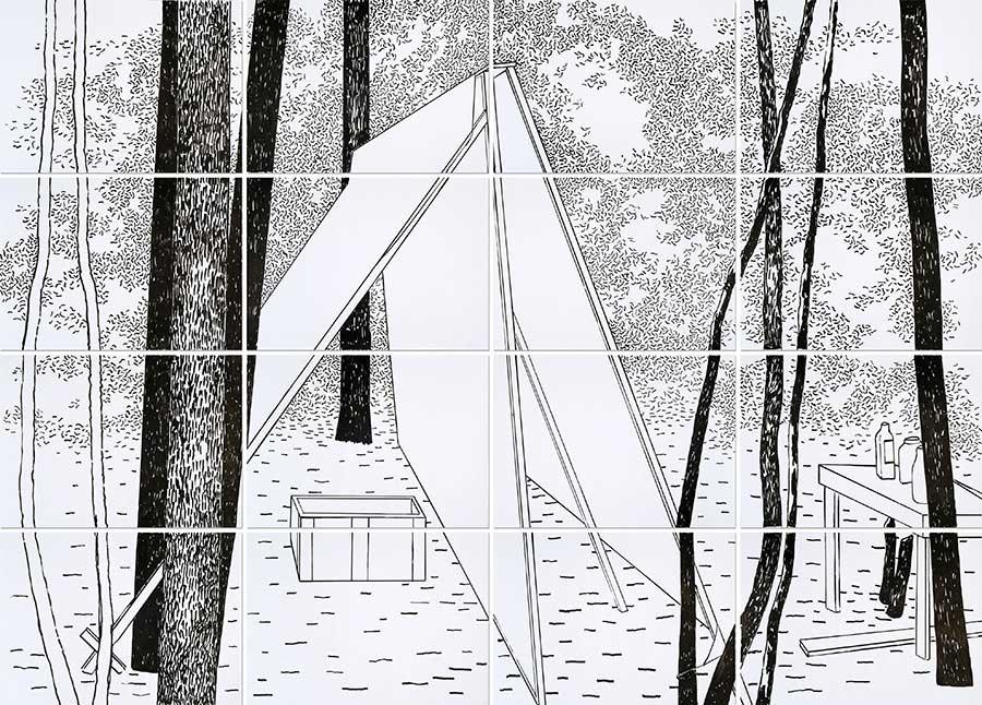 Geisterhaus 1, Acryl auf Papier, 200 x 280 cm