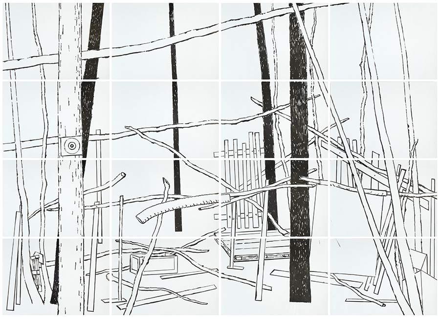 Geisterhaus 3, Acryl auf Papier, 200 x 280 cm