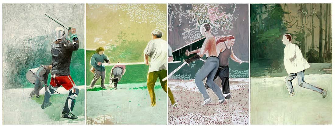 Kampfbild / Fight Picture, Öl auf Leinwand, 240 x 640 cm