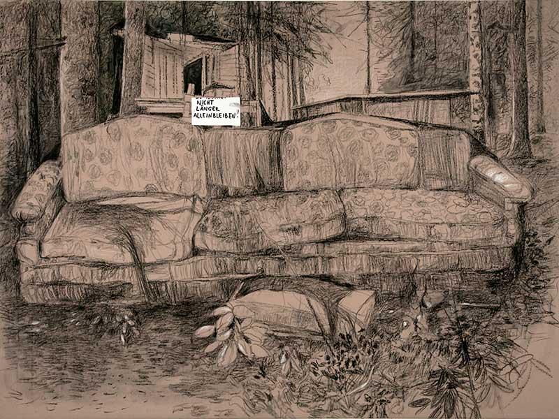 Nicht länger alleinbleiben! / Don´t stay alone any longer!, Kohle und Öl auf Leinwand, 150 x 200 cm