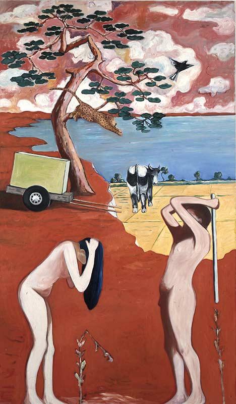 Sicht der Dinge - Lauf der Farbe 4 / View of Things – Course of Color 4, Öl auf Leinwand, 240 x 140 cm