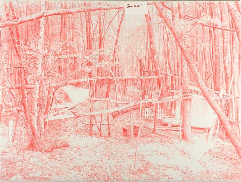 Sie sind fort! / They are gone!, Buntstift auf Leinwand, 150 x 200 cm