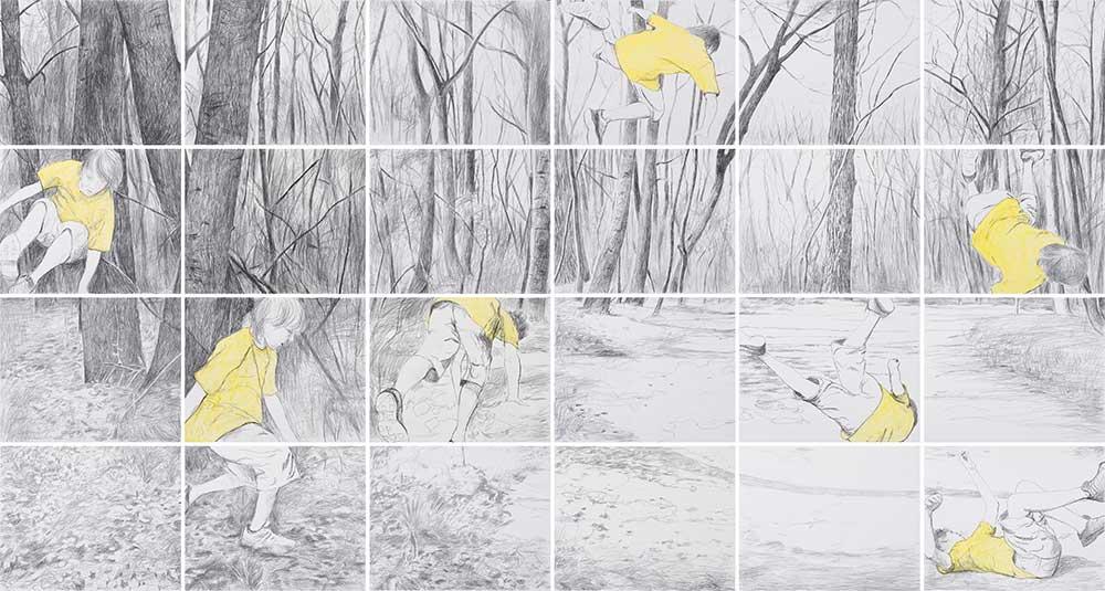 Springer / Jumper, Bleistift und Aquarell auf Papier, 160 x 300 cm