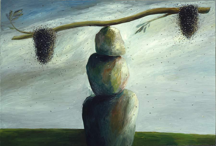 Waage / Balance, Öl auf Leinwand, 190 x 280 cm