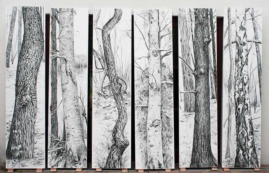 Waldbilder / Forest Pictures, Öl und Kohle auf Holz, je 250 x 60 cm
