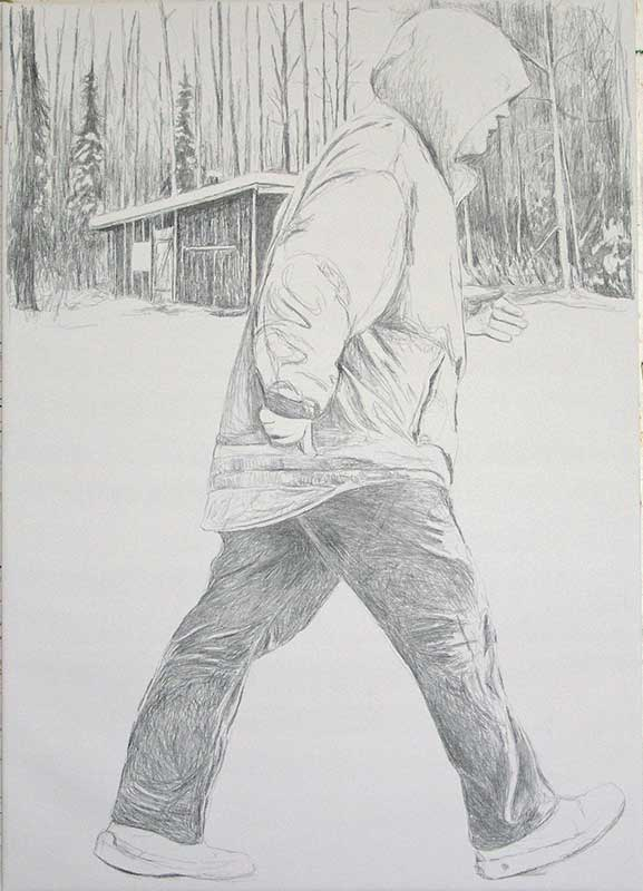 Walker 1, Bleistift auf Leinwand, 210 x 150 cm