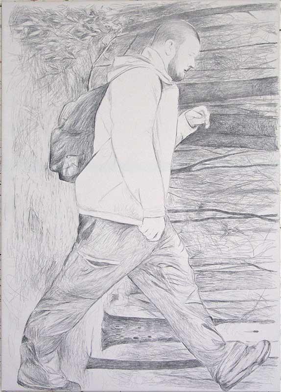 Walker 2, Bleistift auf Leinwand, 210 x 150 cm