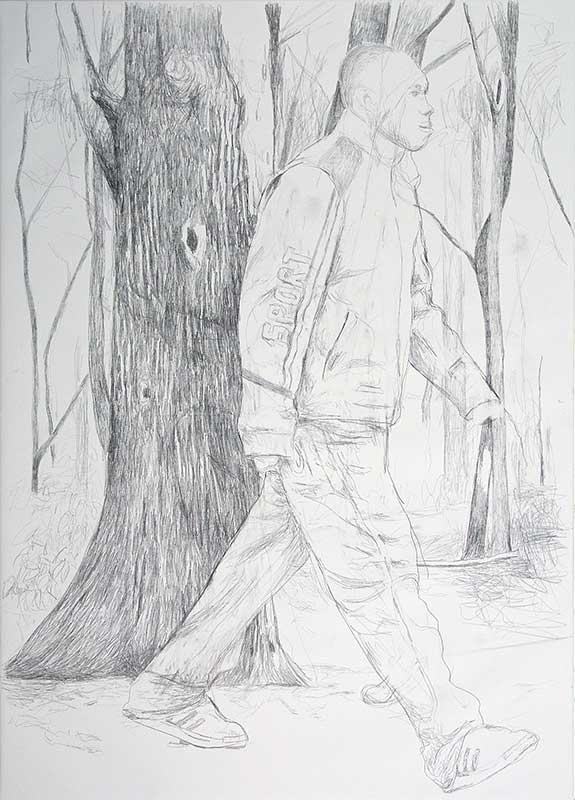 Walker 3, Bleistift auf Leinwand, 210 x 150 cm