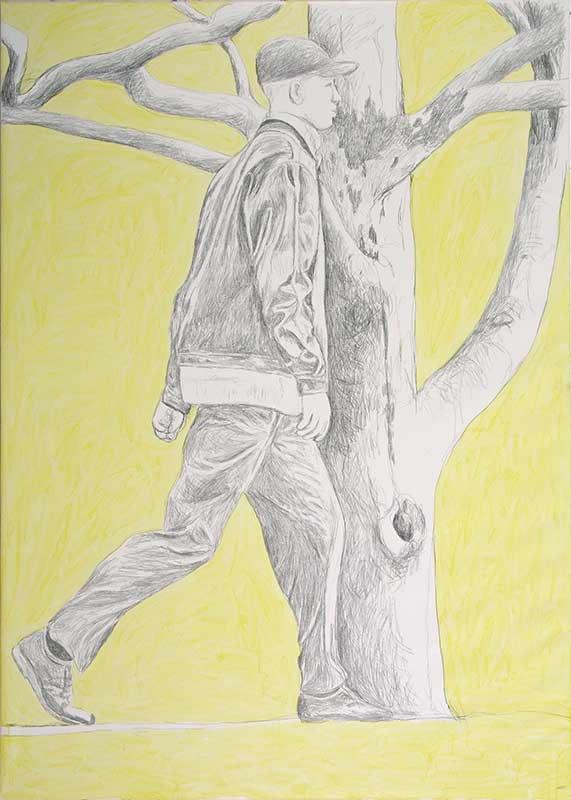Walker 4, Bleistift auf Leinwand, 210 x 150 cm