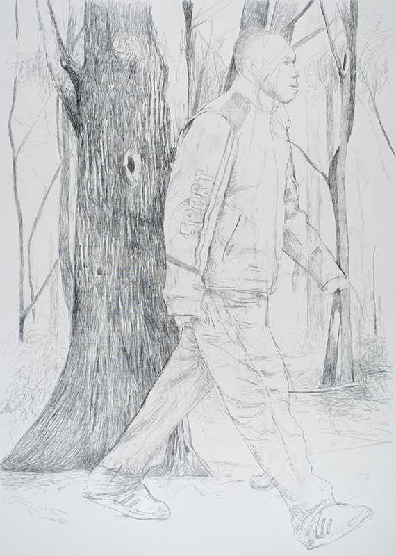 Walker 5, Bleistift auf Leinwand, 210 x 150 cm