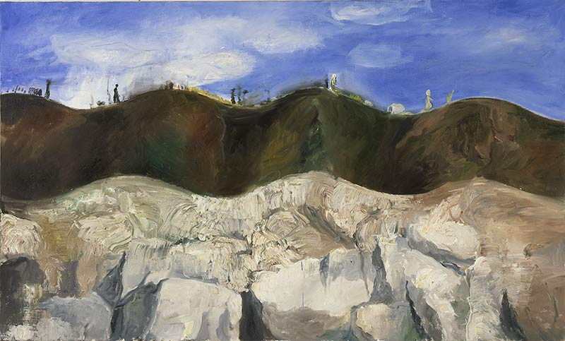 Wanderung / Walking-tour, Öl auf Leinwand, 90 x 150 cm