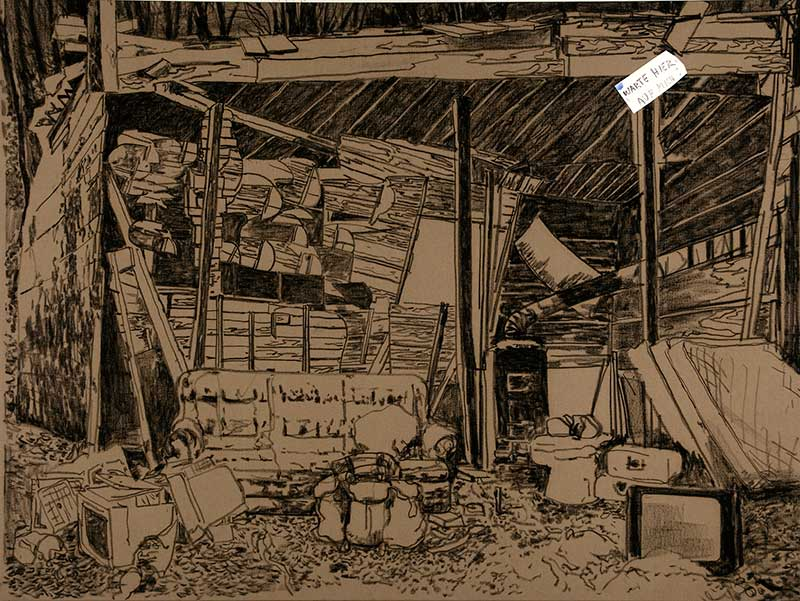 Warte hier auf mich! / Wait here for me!, Kohle und Öl auf Leinwand, 150 x 200 cm