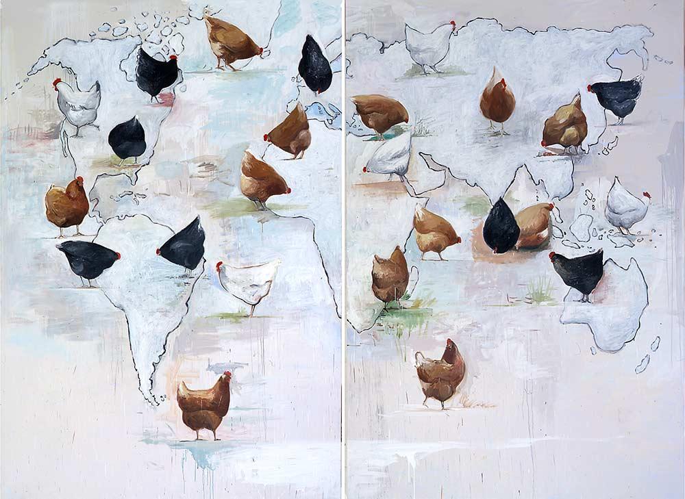 Weltkarte / Map, Öl auf Leinwand, 300 x 400 cm