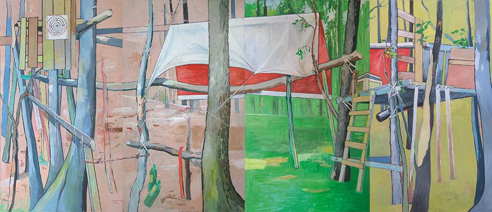Geisterhaus / Spook House, Öl auf Leinwand, 240 x 560 cm