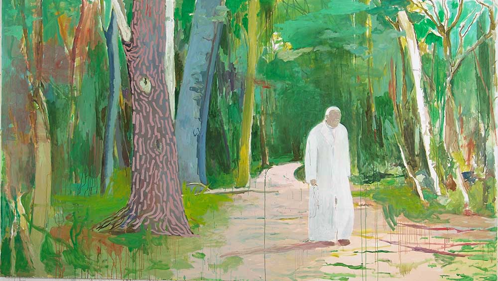 Papst im Wald / The Pope in the Forest, Öl auf Leinwand, 170 x 300 cm