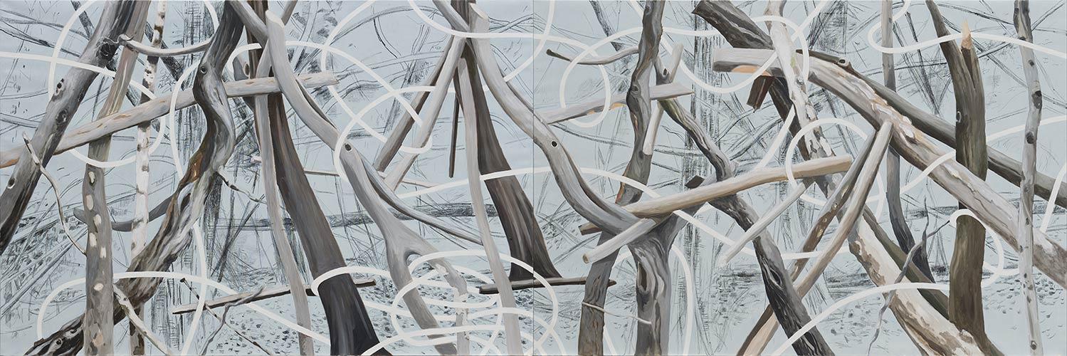2014, Öl auf Leinwand, 160 x 480 cm