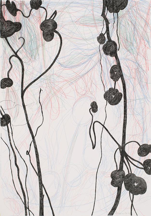 Aus der Serie Frühe Lust - 2, Mischtechnik auf Papier, 150 x 110 cm