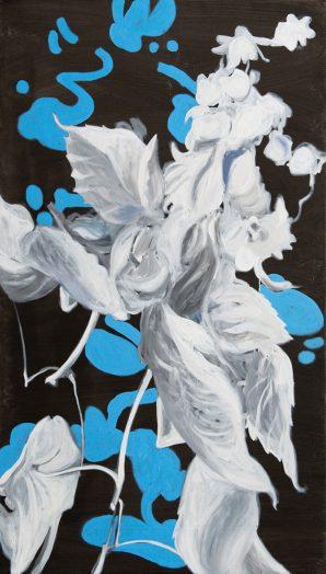 Alois Mosbacher, Schneller Tanz, Öl auf Leinwand, 140 x 80 cm, 2018