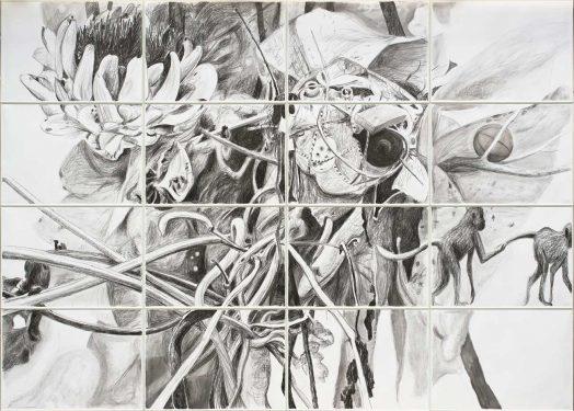 Escape 2018, Kreide auf Papier, 200 x 280 cm