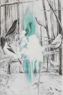 Die Vögel 2019, Öl und Kohle auf Leinwand, 150 x 100 cm