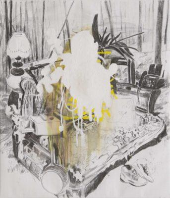 Fax 2019, Öl und Kohle auf Leinwand, 140 x 120 cm