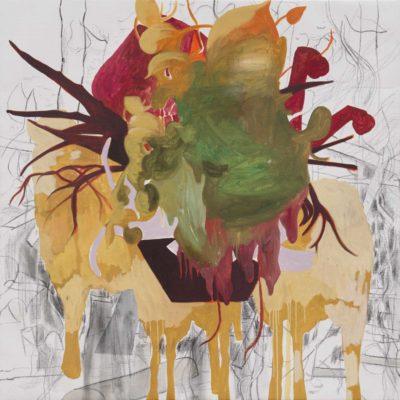 Melange 2019, Öl und Kohle auf Leinwand, 110 x 110 cm